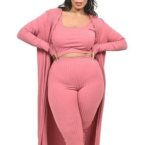 Solid Knitted 3 Piece Legging Set PLUS SIZE